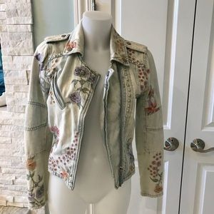Blank NYC embroidered pearl studded jean jacket